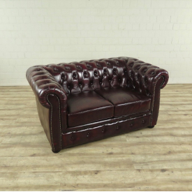 17045 Chesterfield Couch Sofa Leather Red Brown 1,50 m