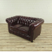 17045 Chesterfield Couch Sofa Leder Rot-Braun 1,50 m
