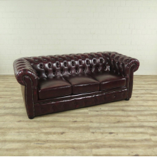 17046E Chesterfield Couch Sofa Leder Rot-Braun 2,00 m