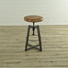 17062 Bar stool Industrial Design Leather Light Brown