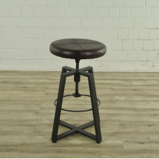 17063 Bar stool Industrial Design Leather Brown