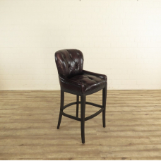 17107 Chesterfield Barstool Leather - Dark brown