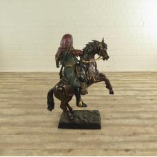 17132E Skulptur Dekoration Krieger Bronze 1,18 m