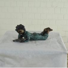 17149E Skulptur Dekoration Kind mit Buch Bronze 0,21 m