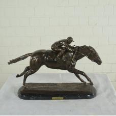 17155E Sculpture Horse Jockey Bronze 0,40m