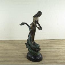 17186 Wasserspeier Skulptur Frau auf Fisch Bronze 1,50 m