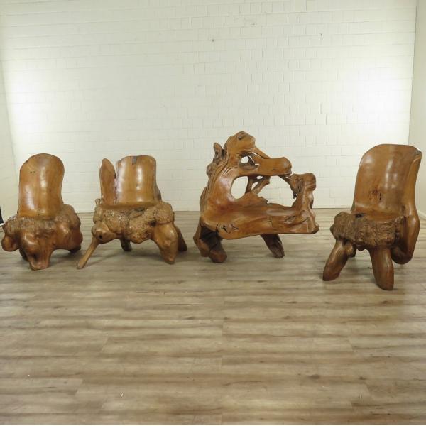 17243 Sitzgarnitur Gartengarnitur Tisch 4 Stühle Teakholz
