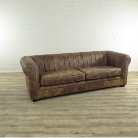 17256E Couch leather Brown 4-seat
