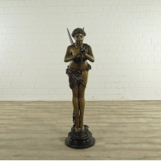 17273 Skulptur Dekoration Elfe mit Flöte Bronze 1,45 m