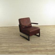 17414E Sessel Industrial Design Leder Braun