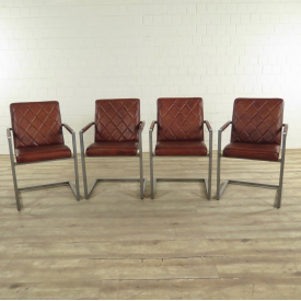 17420E Dining Chairs Industrial Design Leather Red Brown