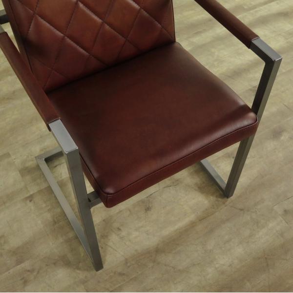 Stühle Industrial Design Leder Rot Braun