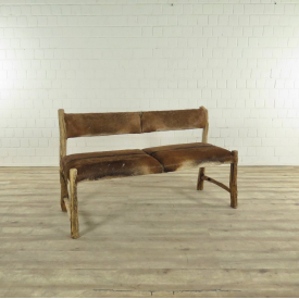 17422 Wooden Bench Goat Skin
