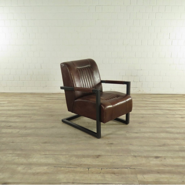 17424 Sessel Industrial Design Leder Braun
