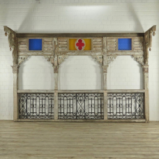 17462E Balkon Balkongeländer Teakholz 1850