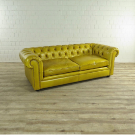 17516 Chesterfield Couch Leather Yellow 2,10 m