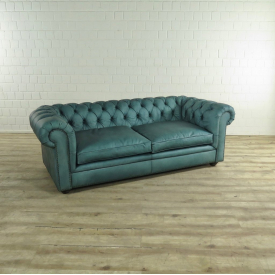 17517 Chesterfield Couch Leather Cyan Blue 2.10 m