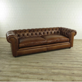 17518 Chesterfield Sofa Couch Leder Braun 2.40 m