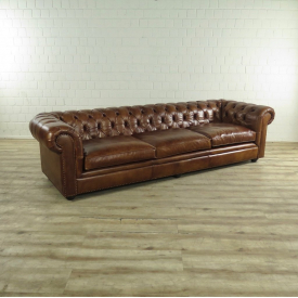 17519 Chesterfield Couch Leather Brown 2.78 m