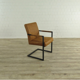 Dining Chair Industrial Design Leather Cognac - 17607