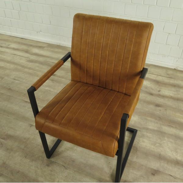 Stuhl Stühle Industrial Design Leder Cognac