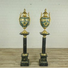 Set Pillars with Vases Marble Green 1,73 m