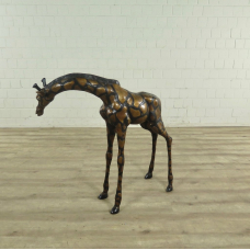 Skulptur Dekoration Giraffe Bronze 0,95 m