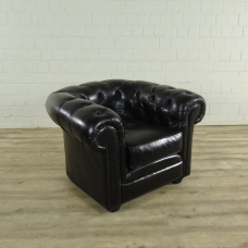 Chesterfield Sessel Leder Schwarz