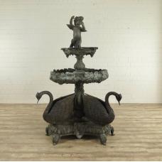 Brunnen Wasserspeier Engel mit Schwänen Bronze 2,00 m