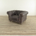 Chesterfield Sessel Leder Anthrazit 1,13 m