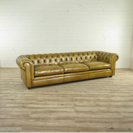 Chesterfield Sofa Couch Leder Olive 2,80 m