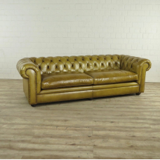 Chesterfield Sofa Couch Leder Olive 2,40 m