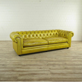 Chesterfield Sofa Couch Leder Gelb 2.40 m