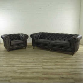 Chesterfield Couchgarnitur Sofa + Sessel Leder Anthrazit