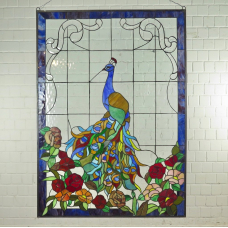 Tiffany Glasbild Fensterbild Pfau