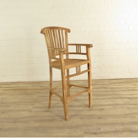 Bar stool with armrests - Teak - 18167