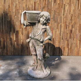 Concrete fountain of a boy with a basket 1,10m