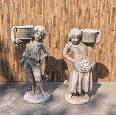 Wasserspeier Beton Kinder mit Korb 1,10 m