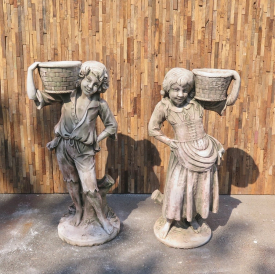 Concrete fountain of children with a basket 1,10m