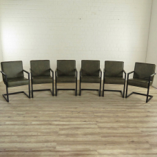 Stuhl Set Industrial Design Leder Grün