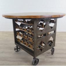 Weinschrank Flaschenregal Mangoholz Ø 1,12 m