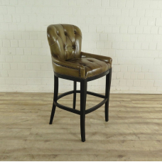 Chesterfield Barstool leather - Olive green