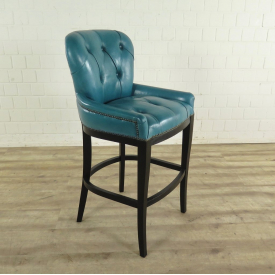 Chesterfield barstool Leather Turquoise