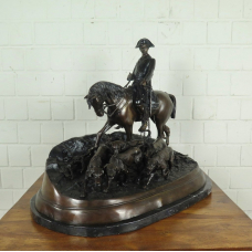 Bronze statue, Jockey with dogs 0,69 m
