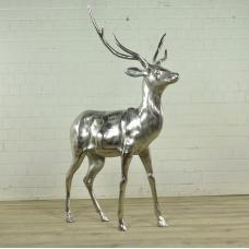 Skulptur Figur Hirsch Chrom 1,05 m