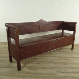 Bench with chest 2,00 m Jugendstil from 1910 Pinewood