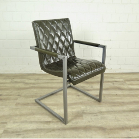 Chair Industrial Design Leather Olive