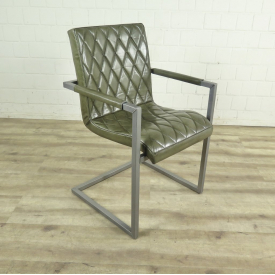 Chair Industrial Design Leather Laguna Green