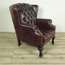 Chesterfield Sessel Rotbraun