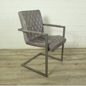 Chair Industrial Design Leather Grey